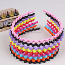 20pieces/lot Fashion candy color plastic wavy headbands hair accessory headwear cheap price and best quality free shipping цены онлайн