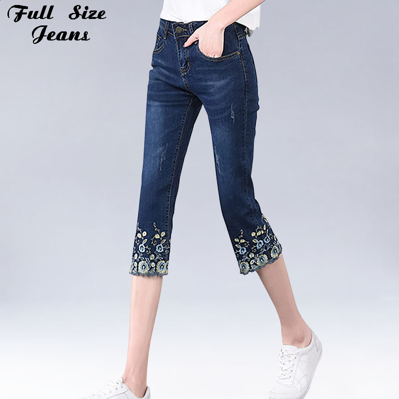 Plus Size Women Embroidery Capris   Jeans   4XL 5XL 6XL 7XL Summer Hight Waist Large Size Skinny Shell Hem White Pencil Denim Pants