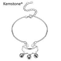Kemstone Mode Zilveren Kleur Sieraden Charme Kettingen Armband Kleine Bel Armband voor Vrouwen Groothandel