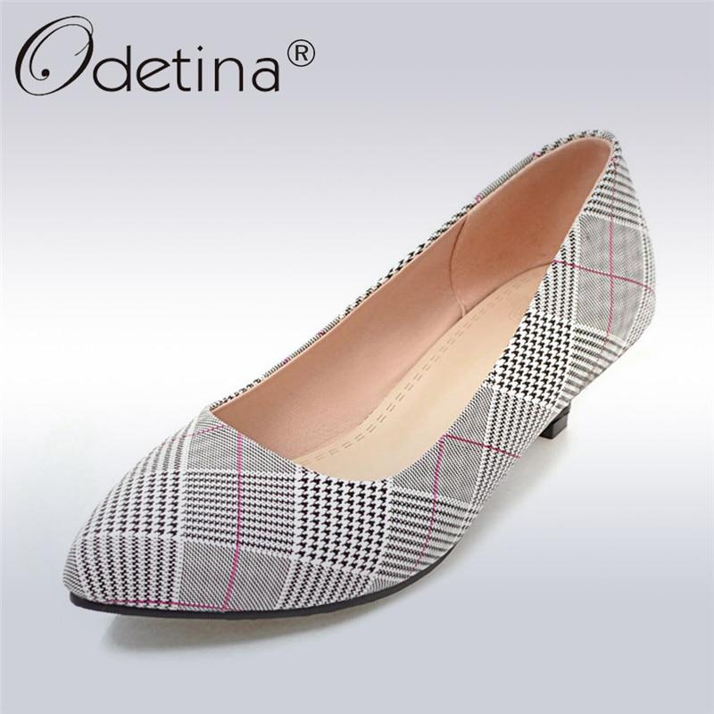 Odetina New Fashion Kitten Heels Women Shoes Plaid High Heels Pointed Toe Med Heel Pumps 3.5 Cm Slip on Dress Shoes Plus Size 43 shofoo newest women shoes med heels pointed toe pumps for woman dress