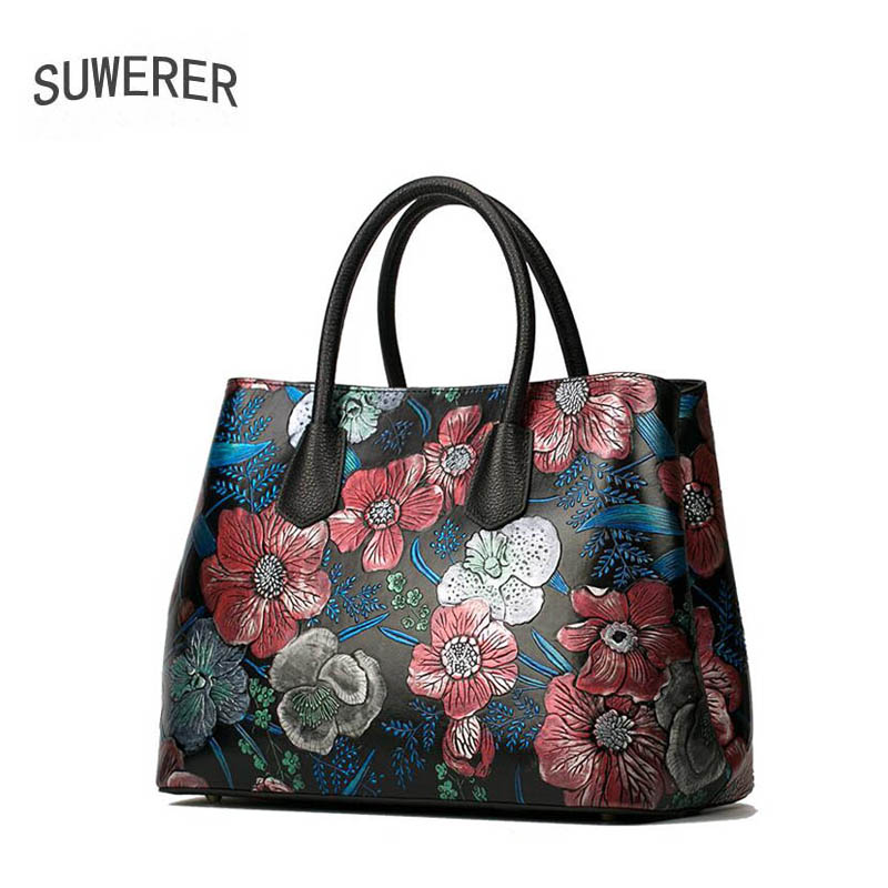 2018 Time-limited New Superior Cowhide Genuine Leather Tote Women Handbags Rose Flower Luxury Bag