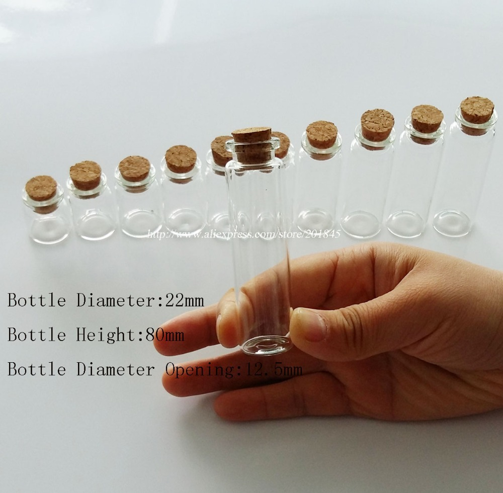 Wholesale 100Pcs/Lot  Mini Glass Bottles Vials Jars With Cork Stopper Decorative Corked Glass Bottle For Pendants Dia 22mm 50pcs lot 15ml cute clear glass tube with cork 15cc glass bottles jars containers display 5ml 10ml 12ml 15ml