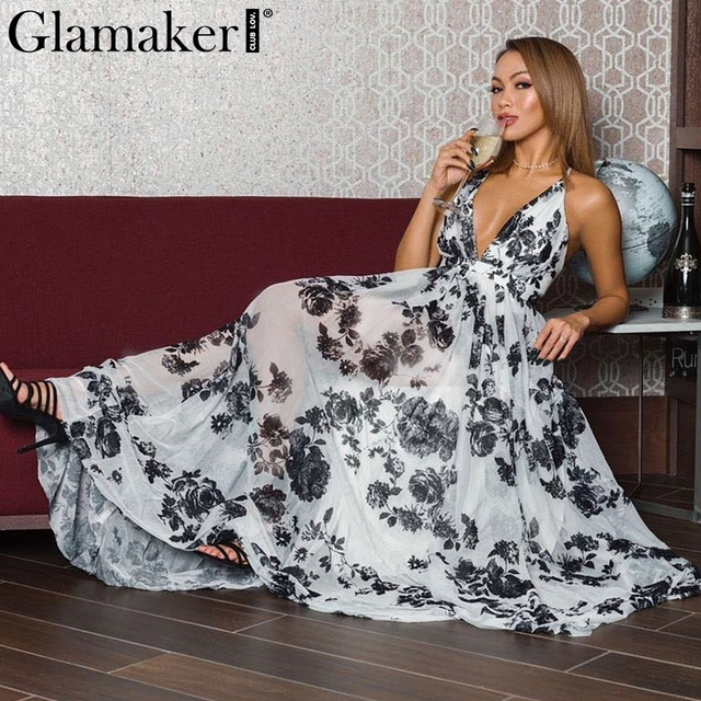 Glamaker boho Dress Glamaker Casual flower print boho summer dress Women sexy backless V maxi  dress vestidos Halter chiffon long dress sundress 2018