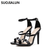 2019 New Women Pumps High Heels Sandals Open Toe Buckle Strap Gladiator Ladies Pumps Shoes Black Red Party Dress цена 2017