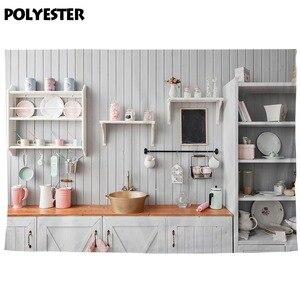 Image 4 - Allenjoy キッチン写真撮影の背景白木製の食器棚台所用品の肖像画の背景 photocall photobooth バナー反
