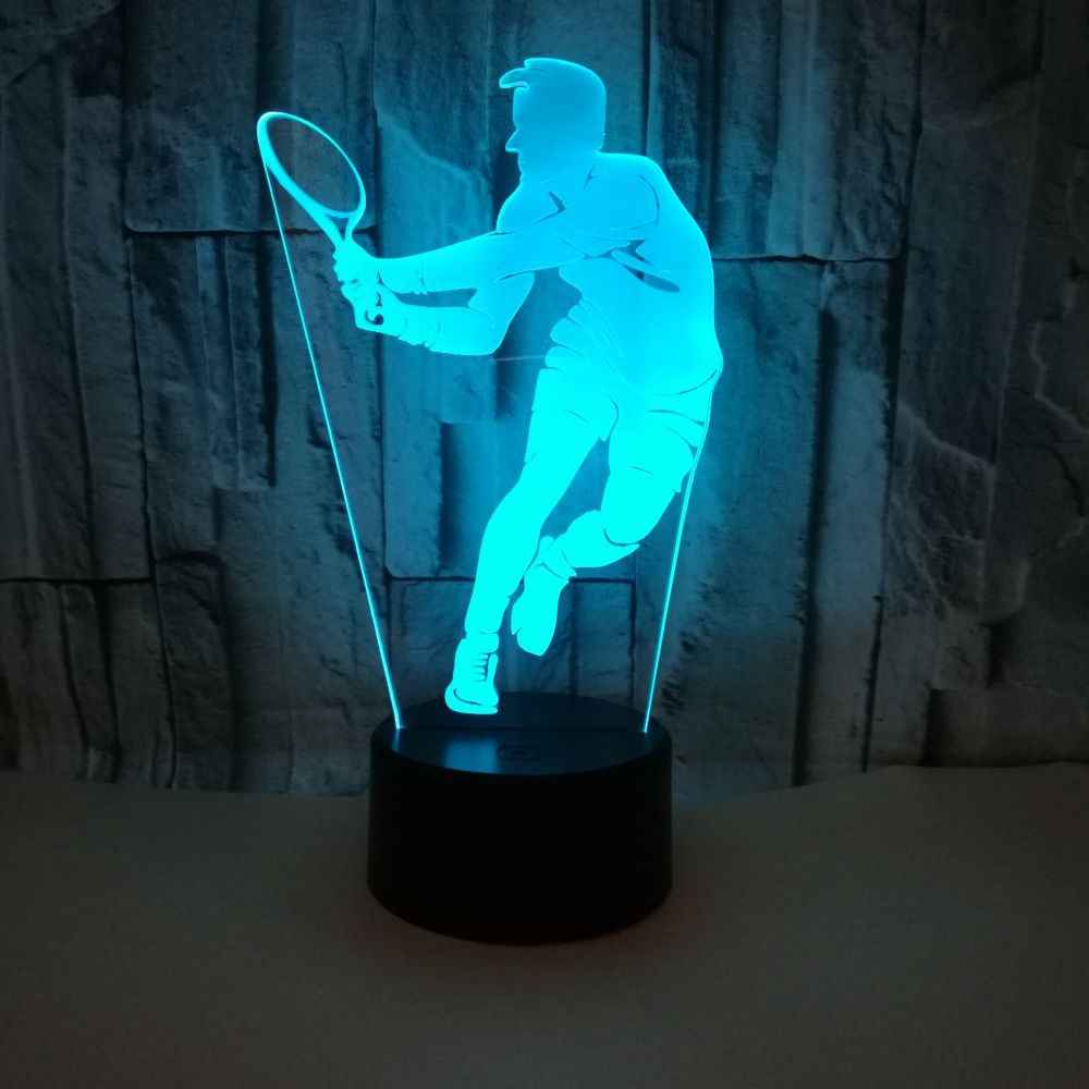 Tennis 3d Lamp Colorful Touch Remote Control 3d Led Visual Table Lamps For Bedroom Character Customized 3d Lighting Table Lamp