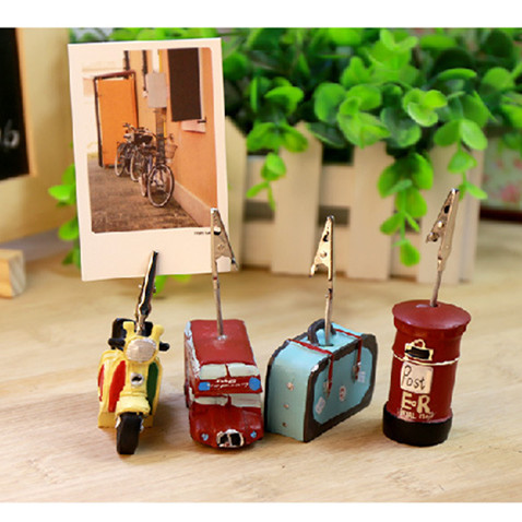 Creative Kawaii Vintage Resin Message Photo Paper Clip Memo Note Holder Desk Decoration Accessories Office Stationery