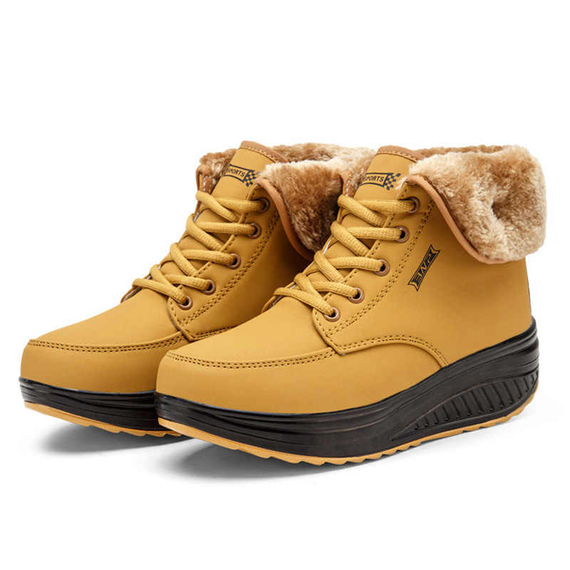 Frauen Stiefel Winter Weibliche Plus Samt Schaukel Schuhe Plattform Schnee Stiefel Frauen Baumwolle gepolsterte Schuhe Flache Stiefeletten für frauen