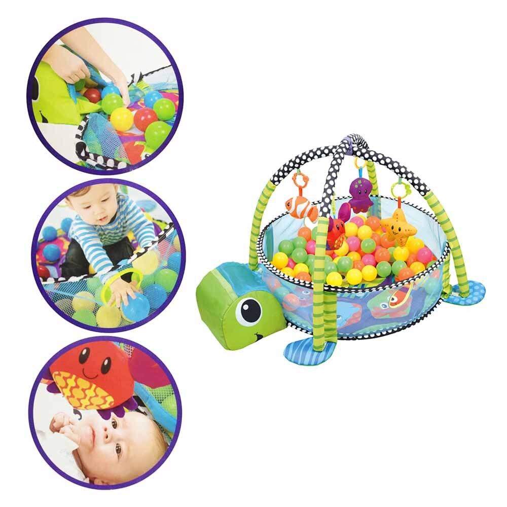 0-1 an 3-en-1 bébé tapis de jeu tapis de sport tapis ramper tapis dans la pépinière tortue jouet net support Marine balle piscine clôture J75 - 3