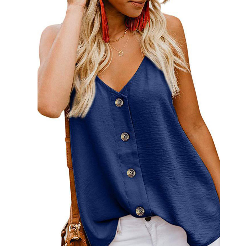 Fashion Summer Womens V neck Vest Sleeveless Button Shirt Blouse Casual Solid V neck Ladies Thin Tank Tops plus size women shirt in Blouses amp Shirts from Women 39 s Clothing
