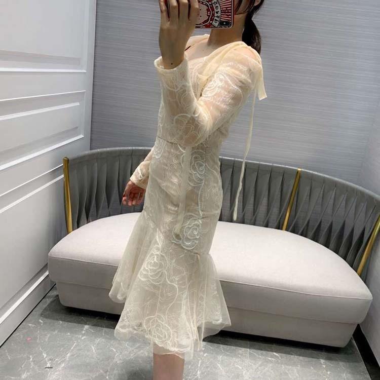Ciel Mode V Pu 2019 cou Trompette Femmes De kaki At190127 Sirène Robes N8w0OXZnPk