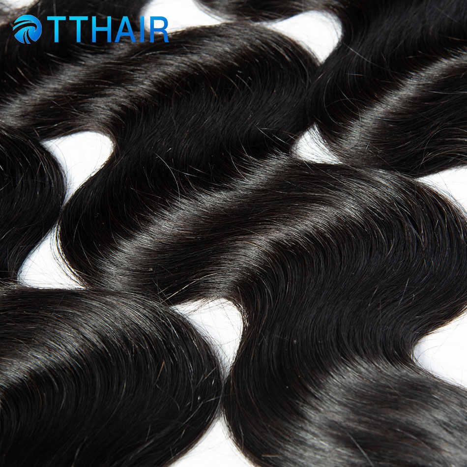 TTHAIR объемные волнистые пучки с закрытием бразильские волосы плетение пучков 100% натуральные волосы пучки с закрытием remy волосы с закрытием
