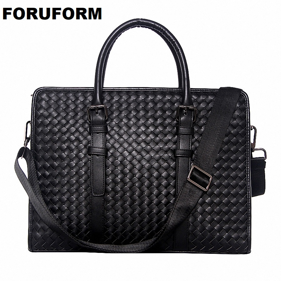 Genuine Leather Weave Business Men Bags Laptop Tote Briefcases Crossbody Bag Shoulder Handbag Men Messenger Bag LI-1944