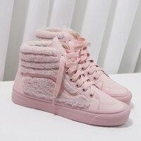 2019 г., женские зимние теплые меховые туфли на плоской подошве, женские Сникеры на платформе с высоким берцем, на шнуровке, sapato feminino, брендовая