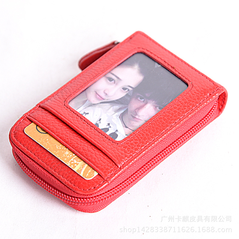 PERDREAM Cow Leather Credit Card Wallet RFID Solid Pillow Mini Coin Purse Zipper Clutch Bag Small Wallet with Photo Bit