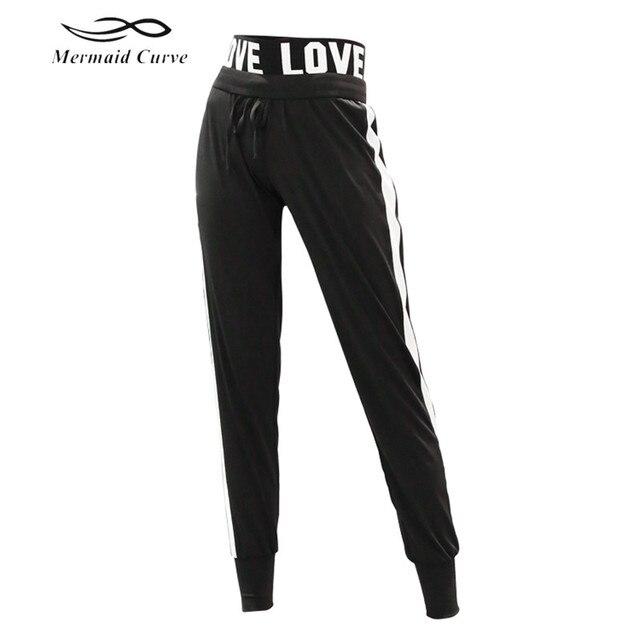 9dd5f3a6168 Mermaid Curve Women s Sweatpants Female LOVE elastic band Jogger Pant  Trousers Quick Dry Sports fitness gym Loose full Pants
