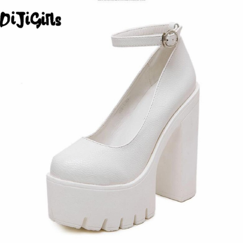 Free shipping 2018 new spring autumn casual high-heeled shoes sexy ruslana korshunova thick heels platform pumps Black and White siketu 2017 free shipping spring and autumn women shoes sex high heels shoes wedding shoes sweet lovely pumps g126