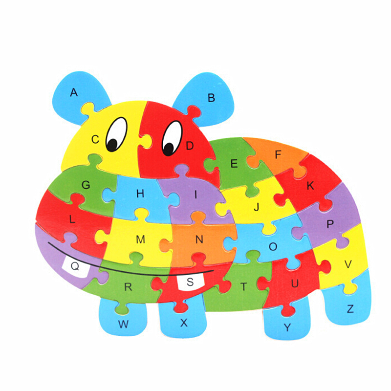 new baby educational toys brain game kids animal puzzle 26 letter wooden toys wood kids 3d