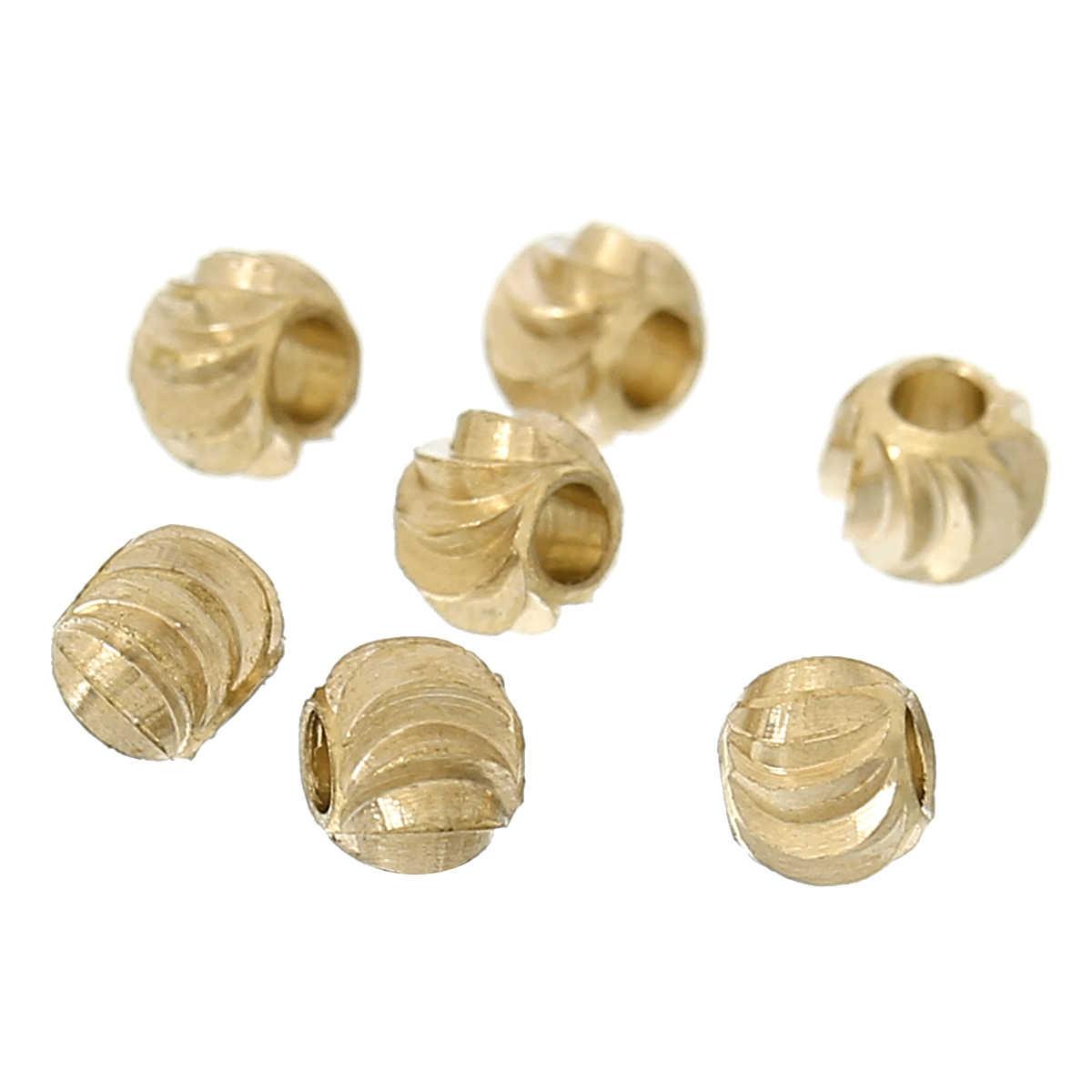 DoreenBeads gran oferta joyería cobre espaciador cuentas de Metal luz redonda dorada unos 3mm de diámetro, agujero: aprox. 1,3mm, 15 piezas