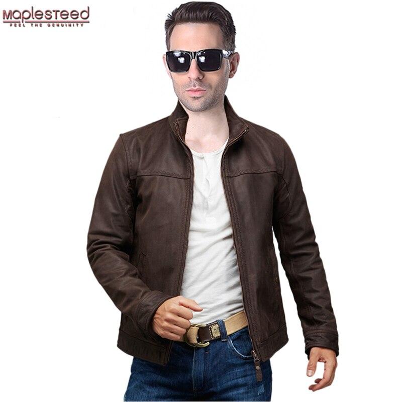 MAPLESTEED Brand Genuine Leather Jacket Men Leather Jackets Cowhide Skin Dark Brown Bomber Jacket Men's Leather Coat Winter 161