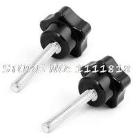 M6 Threaded Plastic Head Metal Clamping Star Screw On Knob Grip 62mm High 2 Pcs