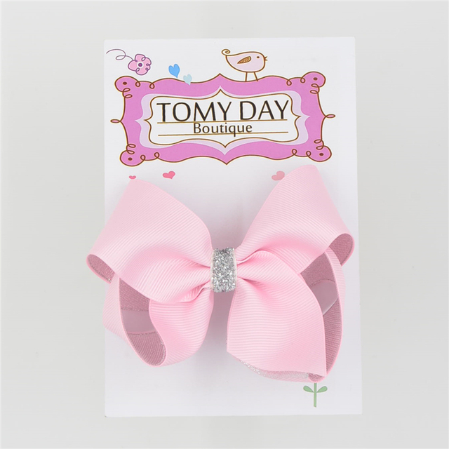 4.5 Inch two layers silvery Solid Ribbon Hair Clips Boutique Bows hairpins For Kids Headwear Hair Accessories TOMY DAY