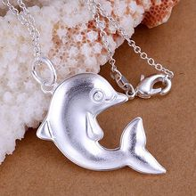 2015New Promotion Wholesale Imitation Dolphins Necklace, High quality 925 Sterling Silver Necklaces,Cheap Fashion Jewelry Online