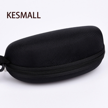 New 2016 Glasses Case Hot Sale Zipper Hard Black Sunglasses Box with Hook High Quality Eyeglasses Pouch Retail Bag Eyewear Box