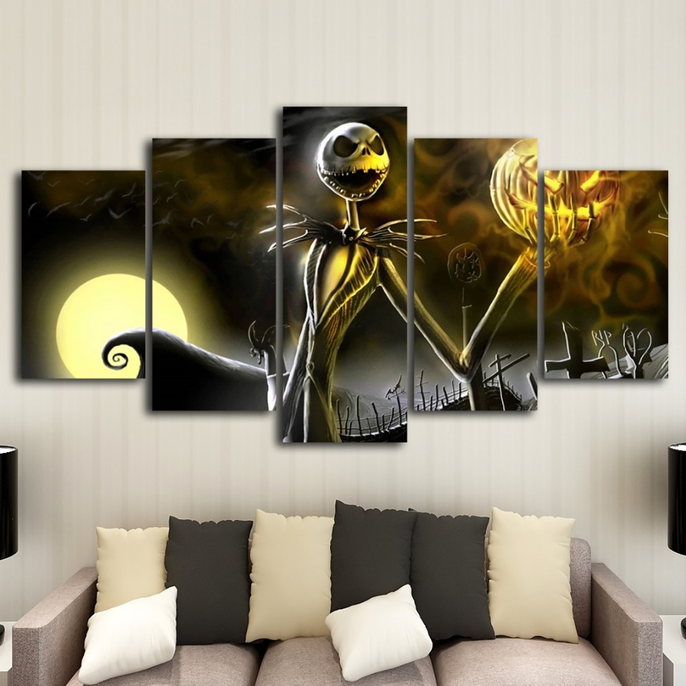 Canvas Wall Art Frame Home Decor Living Room Halloween Poster 5 Pieces HD Printed Nightmare Before Christmas Painting