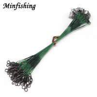 Minfishing 24 PCS Steel Fishing Rope Wire Fishing Leader Line with Barrel Swivel Trace Lure Protecting Line 15cm 23cm 30cm|fishing rope|line traceline fishing -
