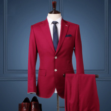 Pre Sale 50% wool men clothing wedding suits for man 2016 autumn winter jacket + pant 2pcs suit set groom slim casual blazer