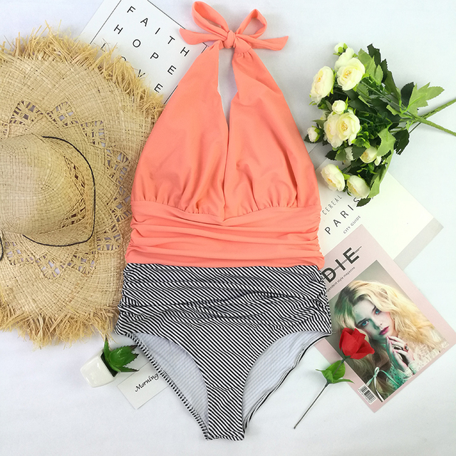 74a1e4cc47a Sexy New V neck One Piece Swimsuit High Waisted backless halter Swimwear  Women push up solid+stripe Bathing Suits Beachwear