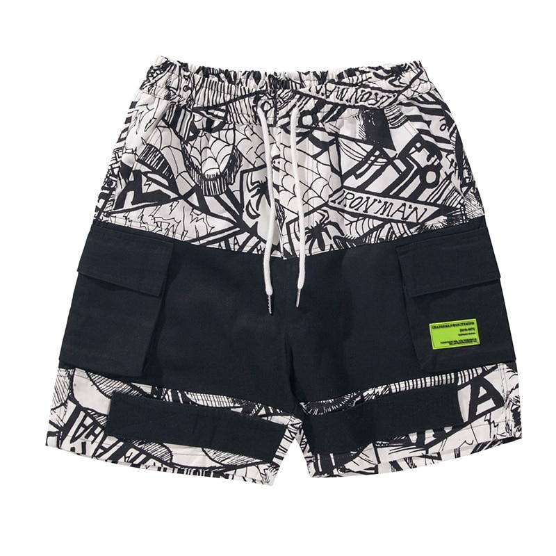 Summer Streetwear Mens Shorts Casual Hip Hop Black Academia Cargo Men Short Kurze Pitchwork Baggy Mens Short Cargo Clothes S6T07