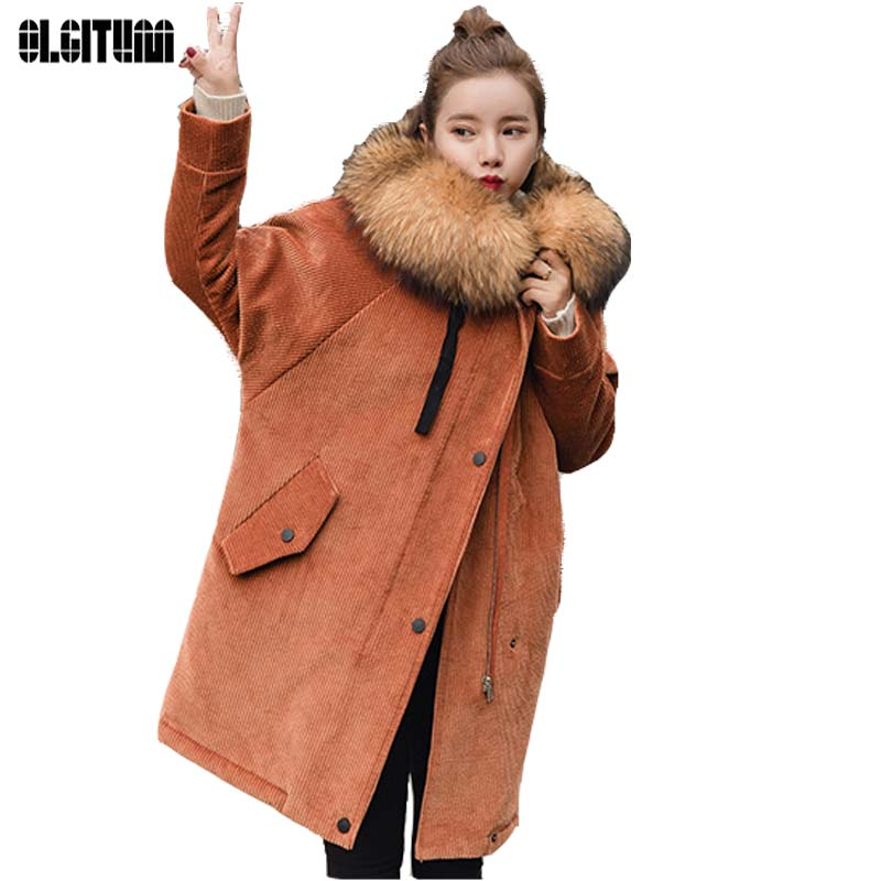 OLGITUM Winter Jacket Women2017 Corduroy Coat Womens Big Fur Hooded Coats Women Loose Long   Parkas   Coat CC550