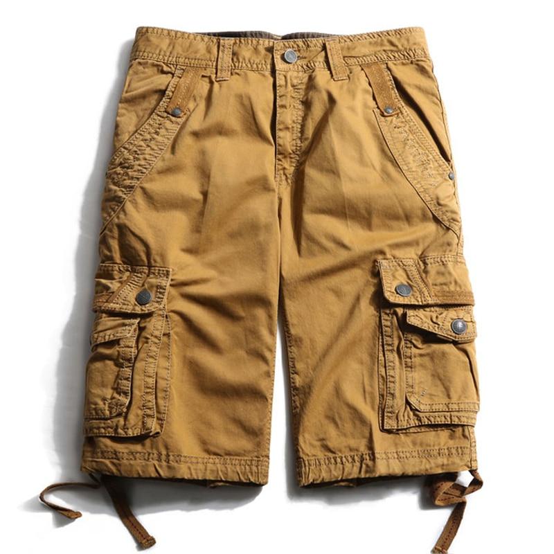 Drop shipping yeni marka erkekler kargo şort bermuda homme rahat - Erkek Giyim