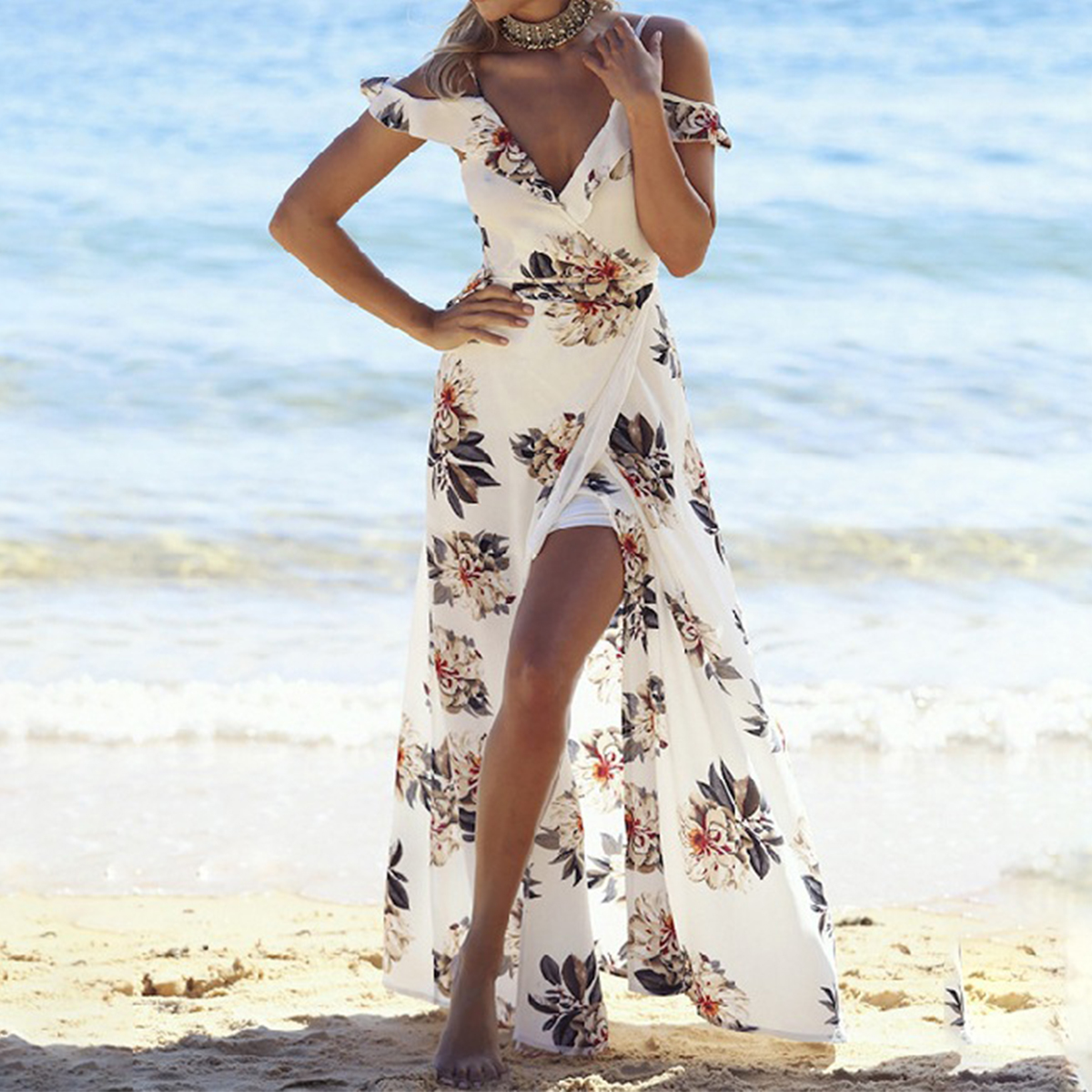 New Backless Tie Up Ruffles Print Long Summer Dress Strap V Neck High Split Maxi Dress Sexy Summer Beach Chiffon Dress Vestidos
