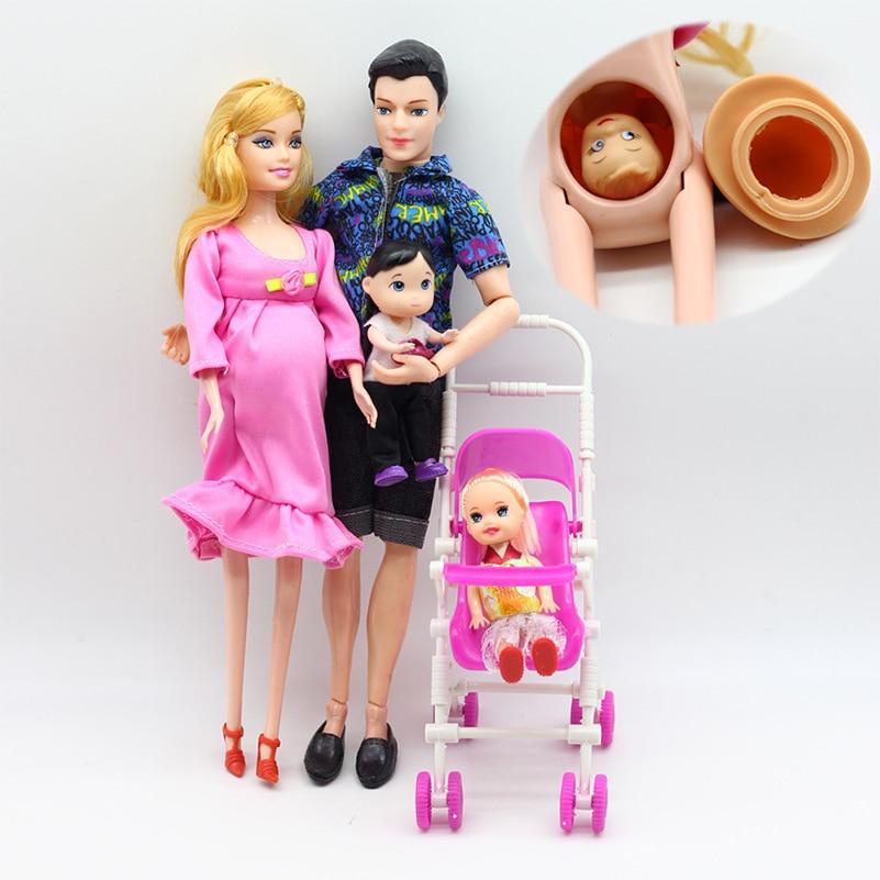 6 pièces Happy Family Kit jouet poupées enceinte Babyborn Ken & femme avec Mini poussette landaus pour bébé poupées enfant jouets pour filles cadeau