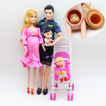 6pcs Happy Family Kit Toy Dolls Pregnant Babyborn Ken&Wife with Mini Stroller Carriages For Baby Dolls Child Toys For Girls Gift bjd doll 6pcs happy family kit toy dolls pregnant big belly dolls family suit pregnancy doll playsets toys for girls baby doll
