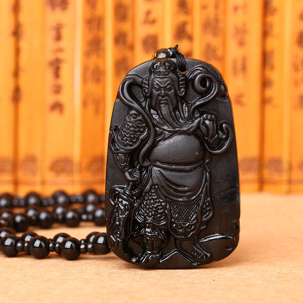 自然な黒黒曜石手彫り中国関ゴング文字彫刻クリスタルラッキーお守りペンダント送料ネックレスファインジュエリー