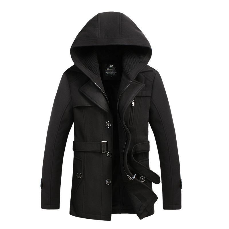 2016 Mens Black Red Wool Blend Hooded Trench Pea Coat ...