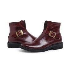 Мода коричневый/черный мужские ботинки из натуральной кожи ботинки платья осень мужские мотоцикла сапоги повседневная обувь с пряжкой