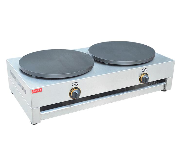Double Plates Gas Crepe Maker 400mm Double Pancake Maker Commercial Pancake Baking Machine FYA-2.R 1pc fy 410 r commercial gas type crepe maker machine pancake maker india roti pratar