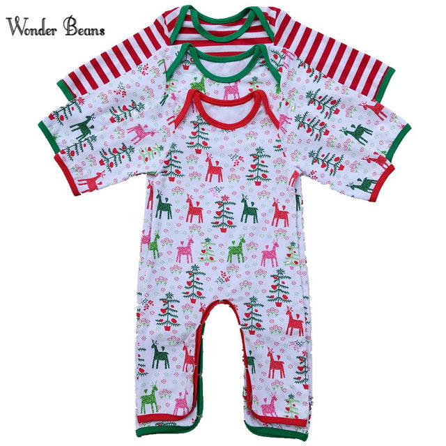christmas baby romper newborn baby first christmas outfit baby xmas clothes christmas tree and deer printed pajamas for baby