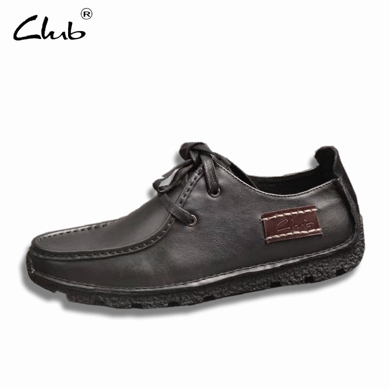 Club Genuine Leather Shoes Men 2017 Lace-up Breathable Leather Men Casual Shoes Loafers Zapatillas Hombre Mens Designer Shoes ege brand handmade genuine leather spring shoes lace up breathable men casual shoes new fashion designer red flat male shoes