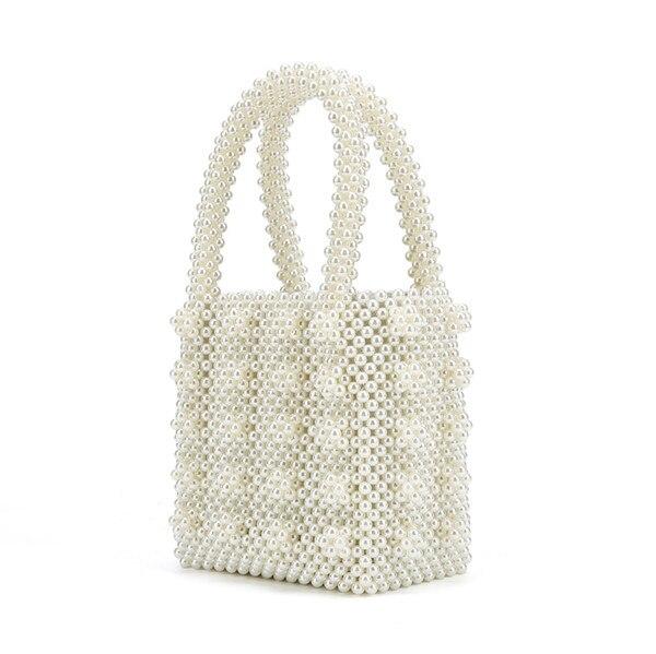 Women brand black white yellow pink fashion pearls bag beaded box bucket totes bag women party elegant handbag luxury  wholesale