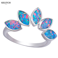 KELITCH Biżuteria Ze Srebra Próby 925 Multicolor 5 Opal Kamień Niepowtarzalny Design Okrągłe Małe Wielkoformatowe Cienkie Kobiety Pierścień Box Pakiet