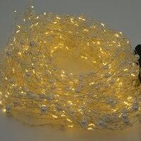 20 pcs 400LED Perle Mini LED Argent Fil Cordes Guirlande lumineuse 2 M Chaud Blanc De Mariage Fête De Noël Décoration Chaîne lumières
