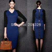 Women's Celebrity Color Blocking V Neck 3/4 Sleeve Formal Career Knee Length Bodycon Pencil Dress