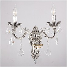 100% Guarantee Crystal Wall Light Silver Gold Sconces Lamp Classic Zinc Alloy Brackets for Hallway Aisle Porch