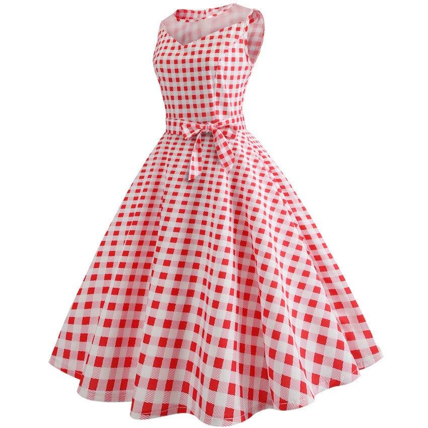 Roben ete 2018 Sommer Frauen Plaid Kleid 1950 s 60 s Robe Vintage ...
